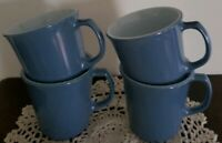 Set of Four (4) PYREX ~ Corelle ~ Steel Blue Milk Glass ~ 8 oz ~ D Handle Mugs