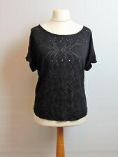 M&S Short Sleeve Black Stretch Top 18