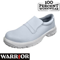 Nurses Medical White Slip On Microfibre Food Hygiene Safety Shoes Steel Toe Cap