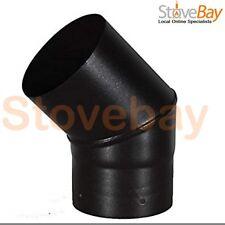 5 Inch 125mm Black Stove Flue Pipe 45 Deg Bend Vitreous Enamel UK Made Quality