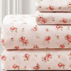 NIP 4-PIECE ~*SHABBY COTTAGE SWEET ROSE BLUSH SHEET SET*~ QUEEN
