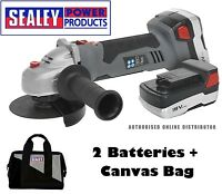 Sealey CP5418V Cordless Lithiumion Angle Grinder 115mm 18V 2x Battery Canvas Bag