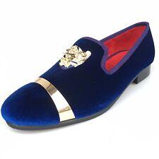 Men Blue Velvet Loafers Slip On Dress Shoes With Gold Buckle Slippers Flats
