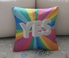 Colorful Rainbow Yes Cotton Linen Throw Pillow Cushion Cover For Home Decor B447