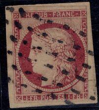 N°6 Cérès 1fr carmin oblitéré Gros points sur fragment - Signé CALVES