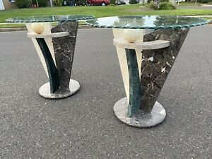 Pair Of Post Modern Vintage Italian Marble Sculptured End Side Table W/ Glass