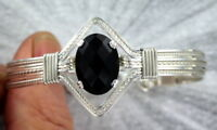 Black Onyx Gemstone Bracelet in Sterling Silver Size 6 to 9 Wire Wrapped