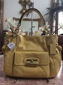 NWT COACH KRISTIN EAST WEST SATCHEL SHOULDER Yellow LEATHER TOTE BAG 14758  $398