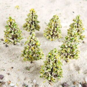 20Pcs 60mm Plastic Model Trees With Yellow White Flowers Railroad Scenery Layout