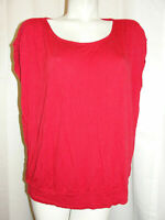CHICO'S Top Women's Size XL 3 Red Stretch Rayon Scoop Neck Banded Hem Blouse