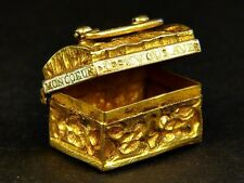 ANTIQUE FRENCH 15K GOLD ENAMEL TREASURE CHEST CHARM 'THE KEY TO MY HEART' c1780