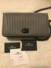 Coach 1941 Dinky Leather Crossbody Bag With Quilting Grey Gray Black Hardware