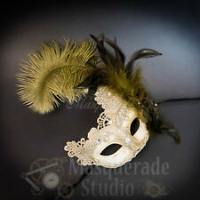 Venetian Goddess Brocade Lace Masquerade Ball Mask with Feathers [Ivory]