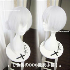 SINoALICE Snow White 45cm Short White Mixed Heat Resistent Cosplay Wig With Buns
