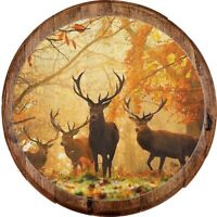 Whiskey Barrel Head Family of Deer Autumn Woods Hunting Huge Antlers Bar Sign