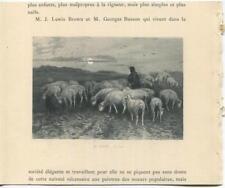 ANTIQUE SHEPHERD FULL MOON NIGHT SHEEP LAMB BLACK DOG ANIMALS LANDSCAPE PRINT
