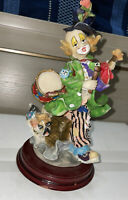 Raisin Hand P. Dancing Clown Figurine With Dog Musical Instruments, Funky Outfit