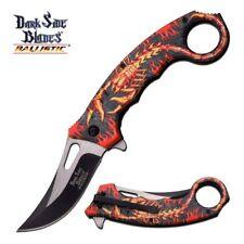 Spring Assist Folding Pocket Knife Red Black Flame Scorpion Fantasy Karambit