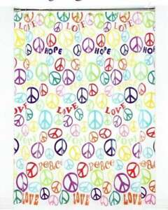 "PEACE SIGN ON CLEAR SHOWER CURTAIN - 70"" x 72"" - BRAND NEW"