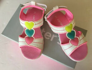 NIB Carter's Toddler Girl Sz 9 White & Pink Light Up Heart Sandals for about 3T