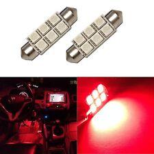 2 Super Red 42mm 578 LED 211-2 Bulbs Festoon 5050 Dome Map Cargo Light 2xC6
