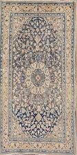 "Wool & Silk Antique Floral Blue 4x7 Nain Persian Oriental Area Rug 7' 1"" x 3' 8"""