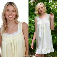 NWT $60 EILEEN WEST CHEMISE NIGHTGOWN X-LARGE Yellow/White Lace 100% COTTON LAWN