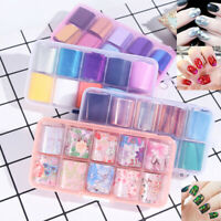 10Pcs Holographic Nail Foil Flower Starry Sky Manicure Stickers Decals Pro Kit