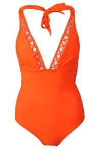 BNWT Ted Baker Evaana Lattice Trim Swimsuit - Neon Orange - Size 3