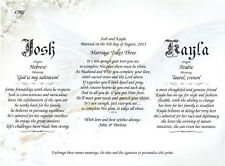 """Personalized Two Name Meanings w """"Marriage Takes Three Wedding Poem Print- Doves"""