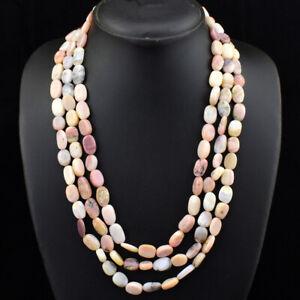 425.00 Cts Natural Oval Shape Australian Opal Beads 3 Strand Necklace NK 26E173