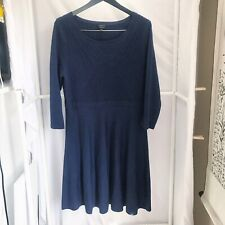 Talbots Navy Blue Merino Wool A-Line Dress Womens Size Large