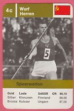 German Trade Card 1968 Olympics Javelin Gold Medal Winner Janis Lusis USSR