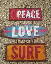PEACE LOVE SURF Surfboard Tiki Beach Bar Wood Cantina Rope Sign Home Decor NEW