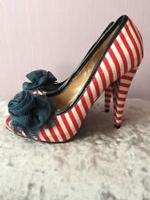 Escape Red & White Striped Shoes NWOB Size 6