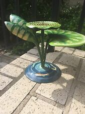 Vintage Koi and Lily Pad Handpainted Metal Candle Holder 7.25 inches tall