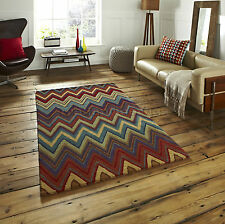 Aztec Zig Zag Design Multicoloured Wool Rugs Az01 150x230