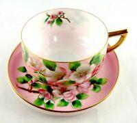 Vintage Chubu China Tea Cup  Saucer Set Pink Gold Trim Hand Painted Floral Japan