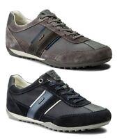 GEOX WELLS U52T5C NAVY DK GREY scarpe uomo sneakers pelle camoscio tessuto
