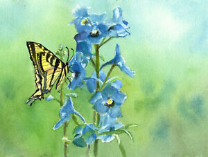 Aceo Blue Delphinums with Tiger Swallowtail Butterfly watercolor print