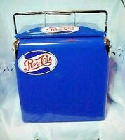 "Pepsi Cola Blue Ice Chest Cooler Box  Repro POP ice chest 11"" W x 9 1/2"" X 14"" H"