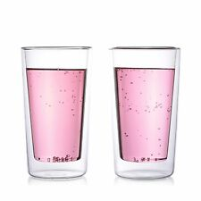 Epare 12 oz. Double Wall Clear Glass Highball Cups No Coaster USA (Set of 2)