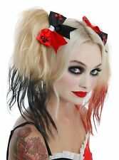 DC Comics Harley Quinn Hair Bows Black Red Gem Pony Tail Costume Props Cosplay