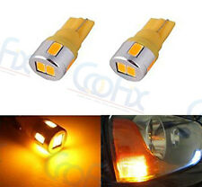 2 x T10 Wedge 12V Super Bright Amber Yellow 5730 SMD 194 168 2825 LED Lights