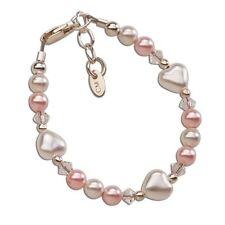 Gift Sweetheart-Sterling Silver Bracelet-Med. pink&white Swarovski pearls accent