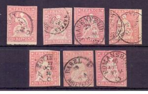 SWITZERLAND 1854-62 15r. x 7 CDS USED GREEN (OR BLUE?) THREADS