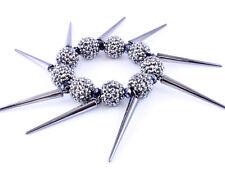Urban Club Fashion Gray Crystal Bling Disco Fireball & Spike Stretch Bracelet