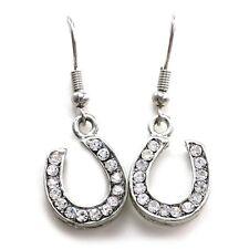 Lucky Cowboy Cowgirl Horseshoe Dangle Earrings Silver Tone Charm Lady Jewelry a1