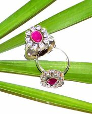 Aaa Fine Girl Toe Ring Ruby & C Z Cut Ring 925 Solid Sterling Silver Us 4 S584