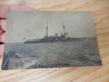 Rare 1916 - GALLIPOLI - HMS AGAMEMNON  POSTCARD d5  stained